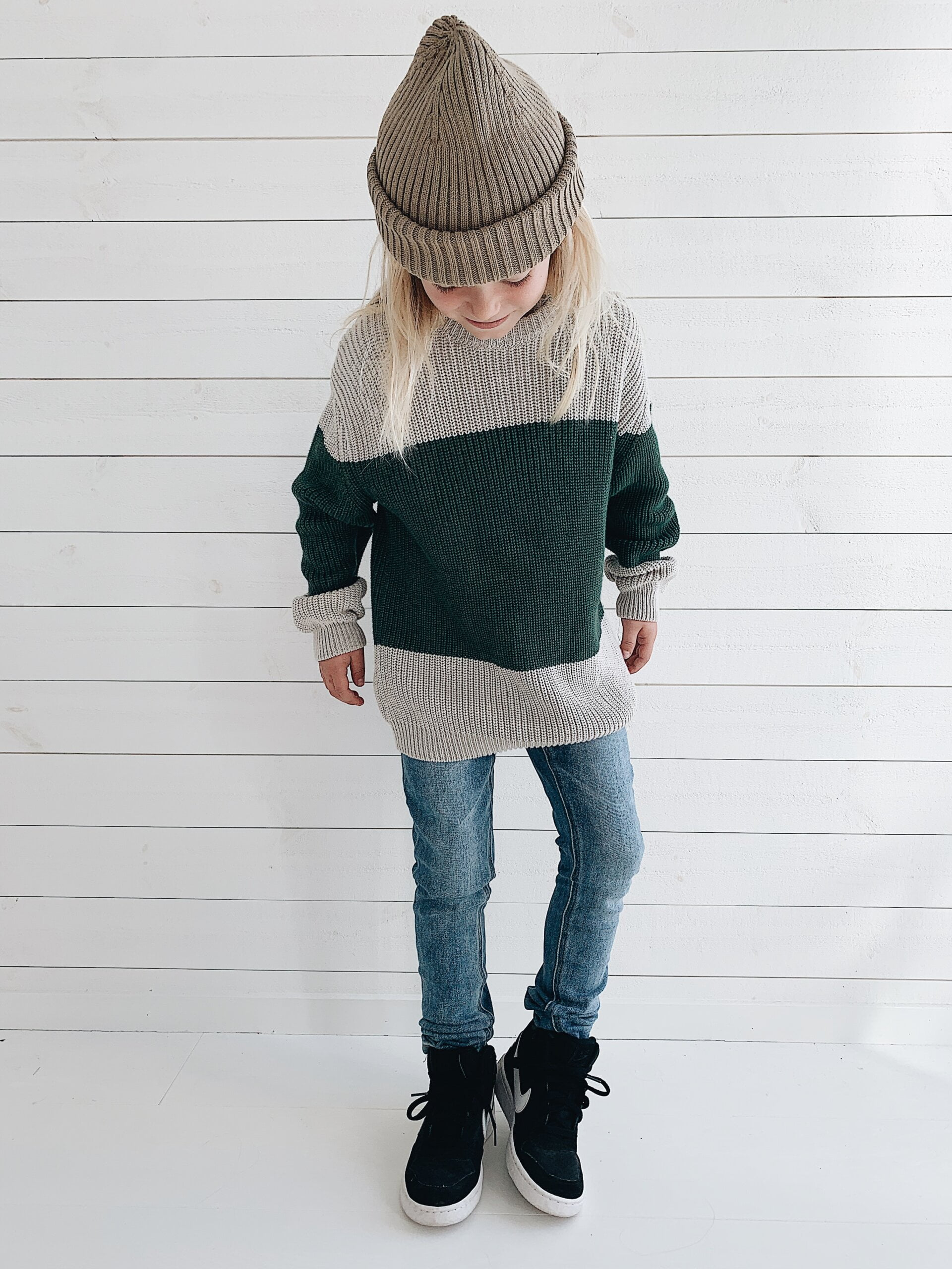 Bo block knitted sweater